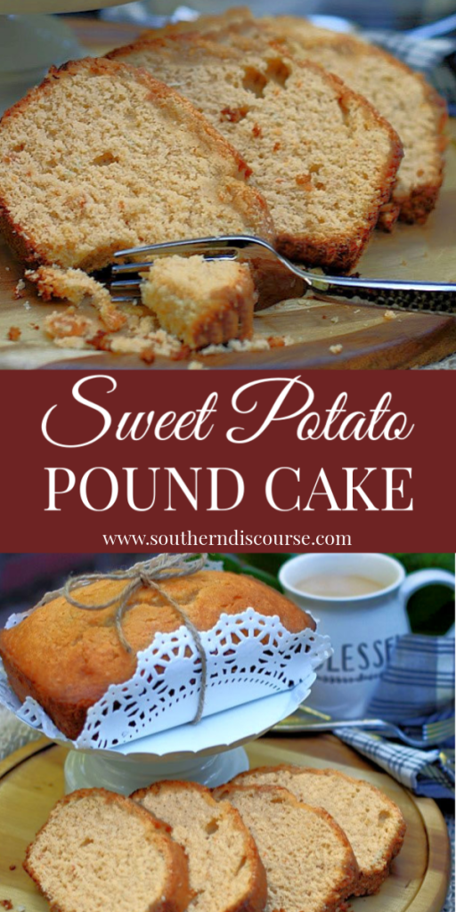 This easy sweet potato pound cake recipe is so moist! Soaked in cinnamon simple syrup, it's perfect for Thanksgiving! Makes one to keep and one to share. #southerndiscourse #fallfood #fallrecipe #sweetpotato #poundcake
