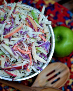 Finished bowl of apple coleslaw with homemade buttermilk dressing.