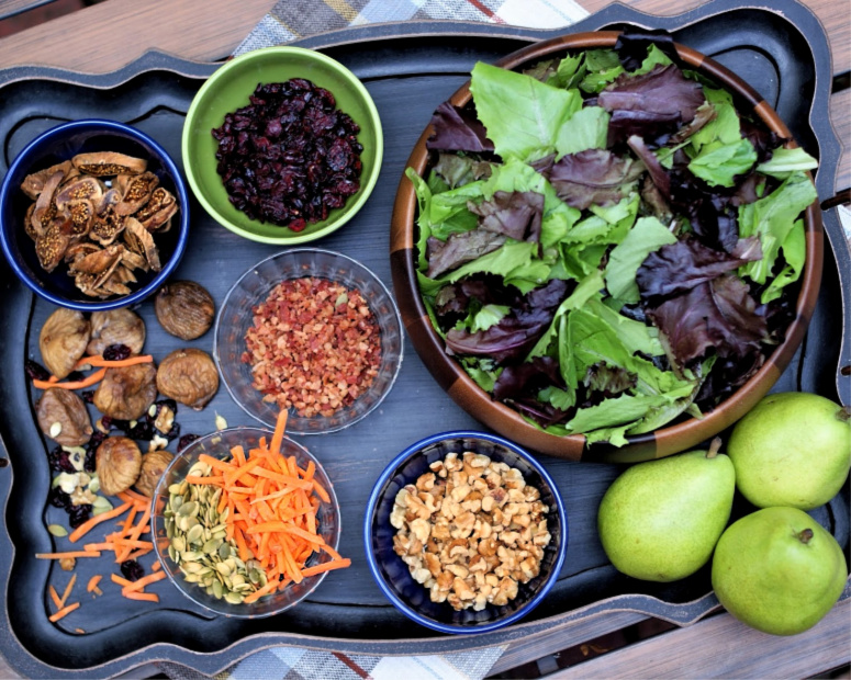 The ingredients for an Autumn Pear Salad
