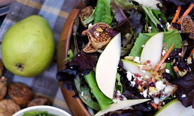 Autumn Pear Salad with Figs & Ginger Molasses Vinaigrette