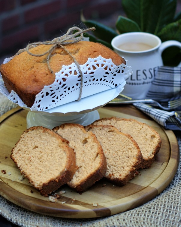 Slices of sweet potato cake being served.