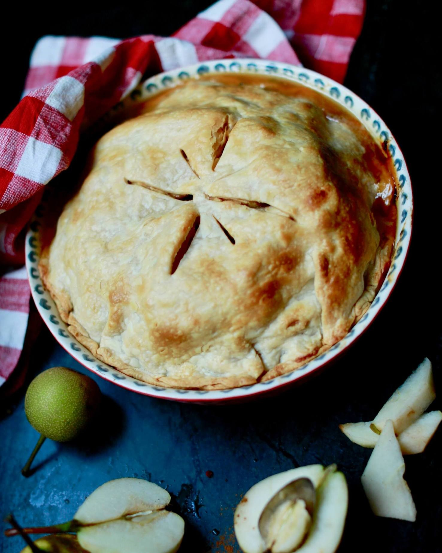 Homemade Pear Pie rivals apple pie on the Thanksgiving Dessert Table..
