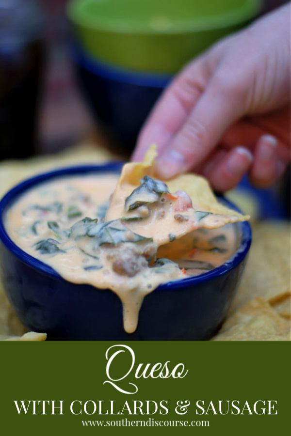 Creamy Queso dip gets a little southern update with spicy ground sausage and mild collard greens! This is a hearty crock pot cheese dip that is perfect for game day parties, tailgates, and all your get-togethers. Move over, boring cheese dip!