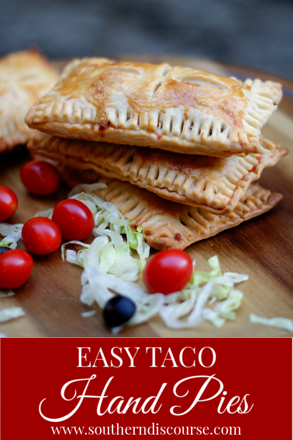 Taco Hand Pies are a great party food! Perfect for game day get-togethers, tailgates or after school. These empanadas are made with pre-made pie crust and baked for ease!