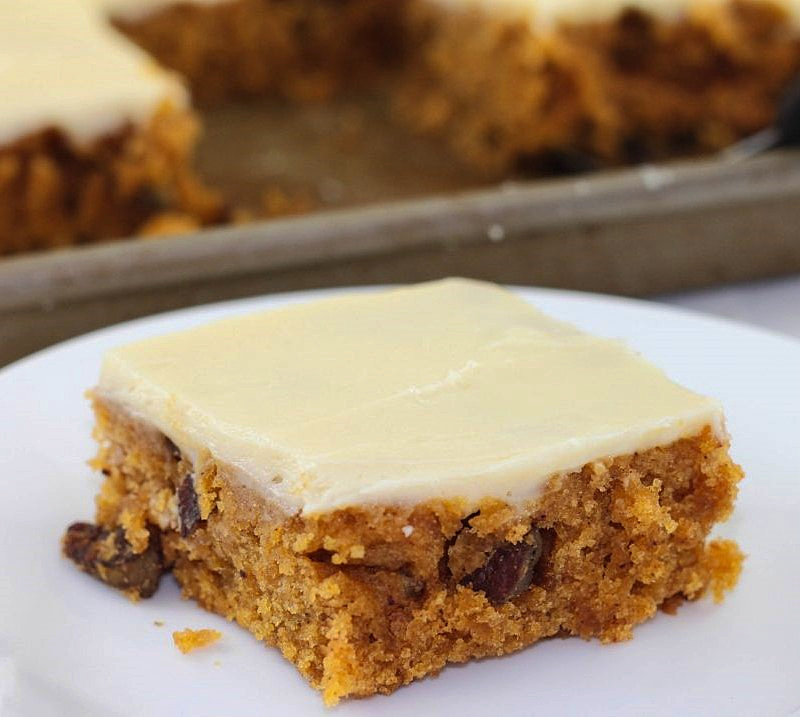Pumpkin Sheet Cake is the perfect Thanksgiving dessert.
