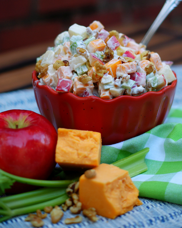 Diced apples, cheddar cheese, celery and walnuts combine to make a simple salad.
