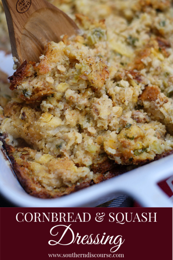 Cornbread dressing at the holidays is a Southern favorite. Step up your dressing game by using squash, bell pepper & onion to create a flavor-filled cornbread dressing for Thanksgiving, Christmas or just as a delicious way to use up that extra squash from the garden.