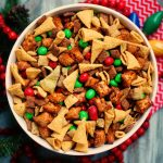 Large bowl of Christmas Snack mix