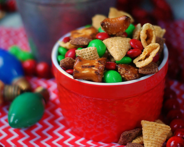 red bowl of Christmas Snack Mix