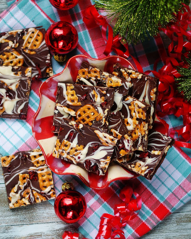 A bowl of Dark Chocolate Pretzel Bark ready to be given or served!