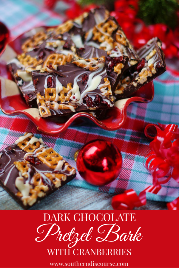 Gorgeous and easy, this bark is made with dark chocolate chips, white chocolate swirls, dried cranberries and salty waffle pretzels.  Perfect for parties or giving as gifts.  Easy and quick to make!