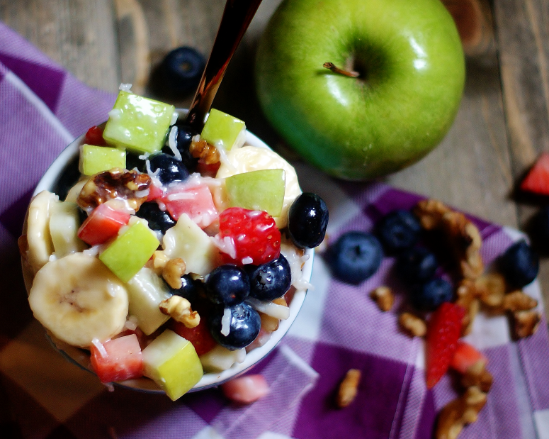 Aerial view of fruit salad.