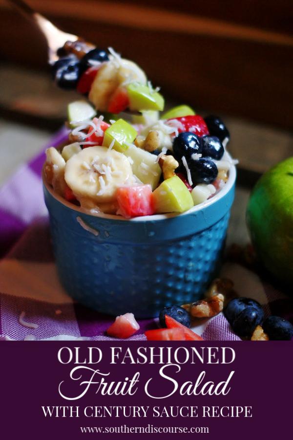 Fresh fruit salad with a 100 year old sauce recipe that makes pure fruit salad heaven! #fruit #fruitsalad #southerndiscourse #freshfruit