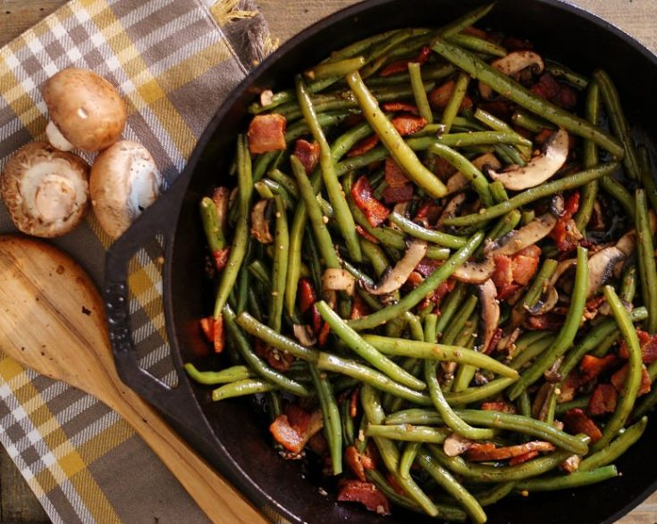 Sauteed Green Beans with Bacon & Mushrooms