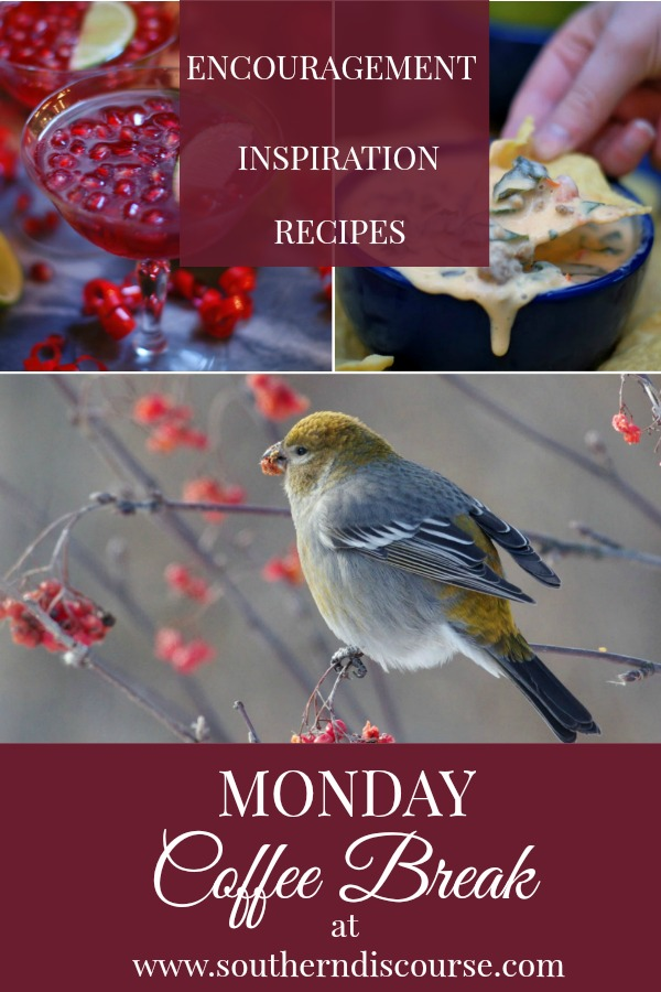 Monday Coffee Break offers Biblical Encouragement, Hospitality Inspiration & Your Favorite Recipes!  This week: Pomegranate Lime Punch, Queso, Looking for Him #southerndiscourse #coffeebreak