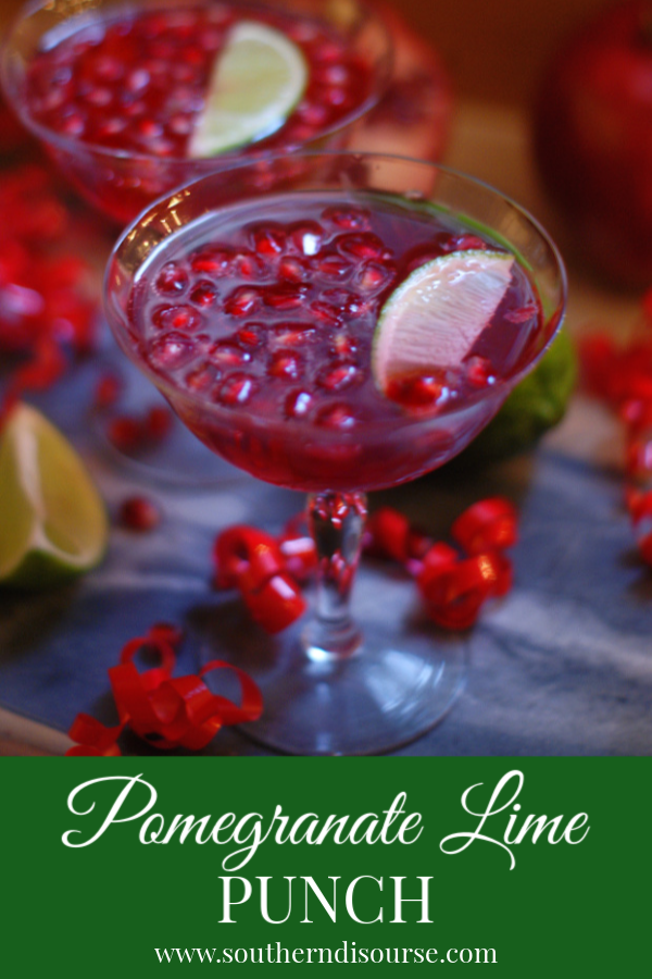 Ruby red pomegranate juice, sparkling ginger ale and bright lime make a deep, gorgeous holiday drink that is fun for everyone.  Perfect for Thanksgiving, Christmas parties and brunches, as well as fun for ringing in the New Year.