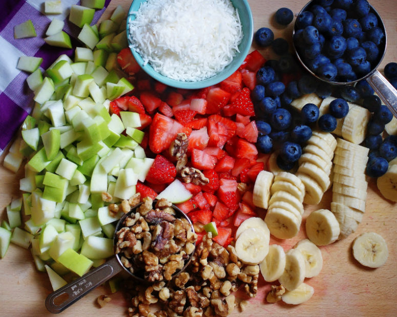 Apples, strawberries, bananas and blueberries are the base for a classic fruit salad.