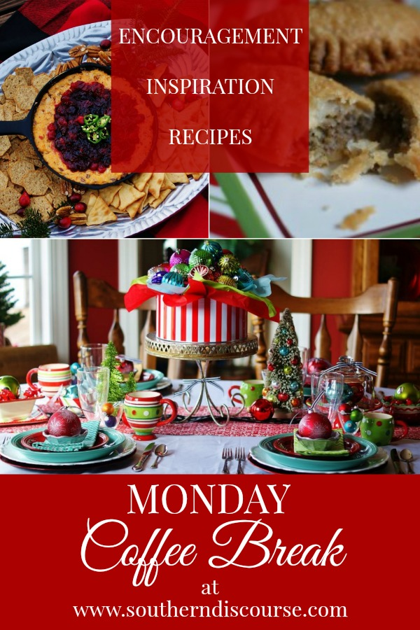 Monday Coffee Breaks contains great recipes, tablescape inspiration and Biblical encouragment for the Christmas season.