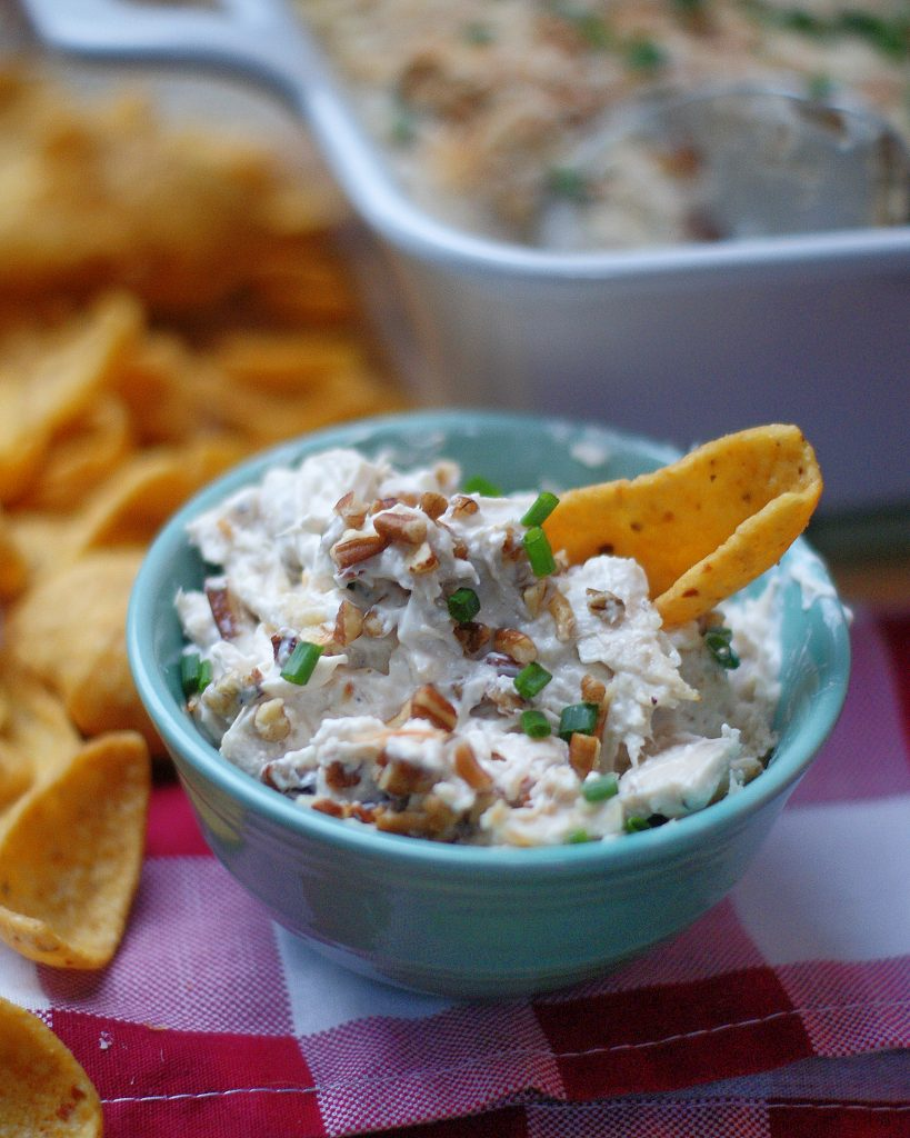 A small turquoise bowl of ultimate creamy chicken dip topped with chives and with a corn chip.