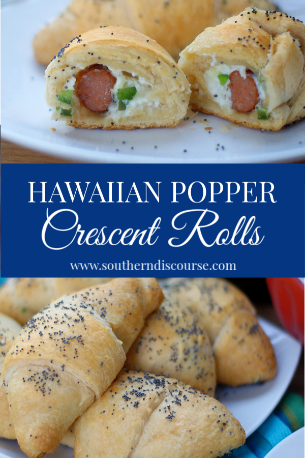 Hawaiian Popper Crescent Rolls combine the best of jalapeno poppers and crescent rolls to create a delicious snack that is perfect for game day, after school, or anytime you need a fun appetizer.  Cream cheese, pineapples, jalapenos and cocktail sausages are what you need to make this easy app!  #gamedayfood #partyfood #crescentrolls #pineapple #appetizers #southerndiscourse