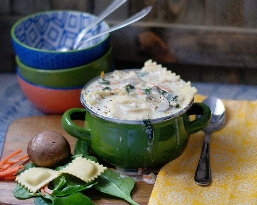 A serving of creamy chicken & Ravioli Soup