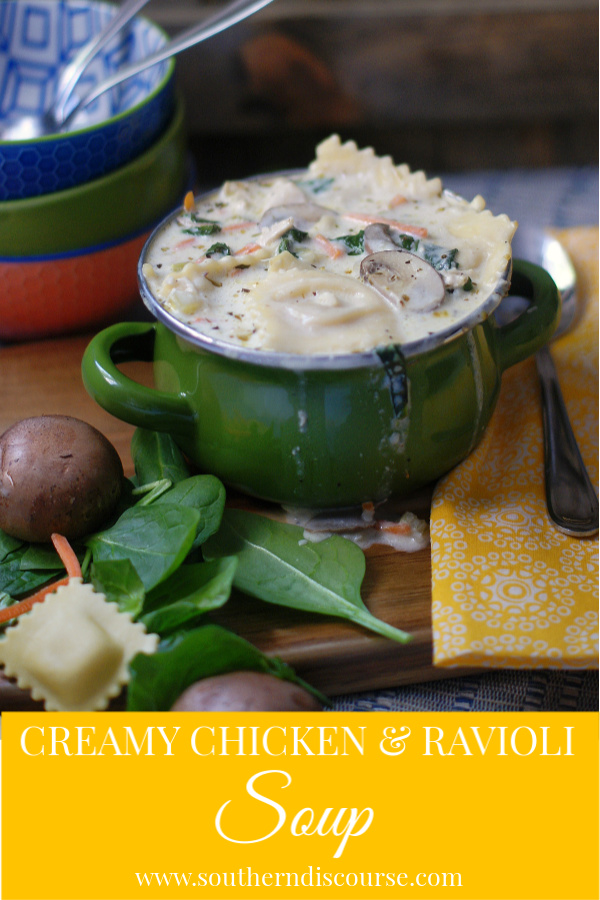 Creamy chicken & ravioli soup with spinach and mushrooms is an Italian style family meal that just says comfort food when you ladle it up and serve piping hot bowls to those you care about the most!  #ravioli #italiansoup #comfortfood #chicken #southerndiscourse