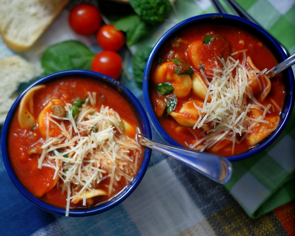 2 bowls of Italian Tortellini Soup with Sausage & Spinach