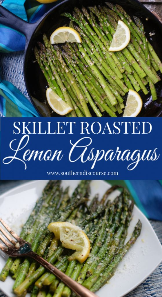 Tender asparagus roasted just right in a cast iron skillet with lemon and garlic. The perfect vegetable side dish for Easter, holidays, Sunday dinner or just any meal you feel needs elevating. Roasts right up in only 10 minutes!  #southerndiscourse #veggies #sidedish #Easter #holidays #sundaydinner