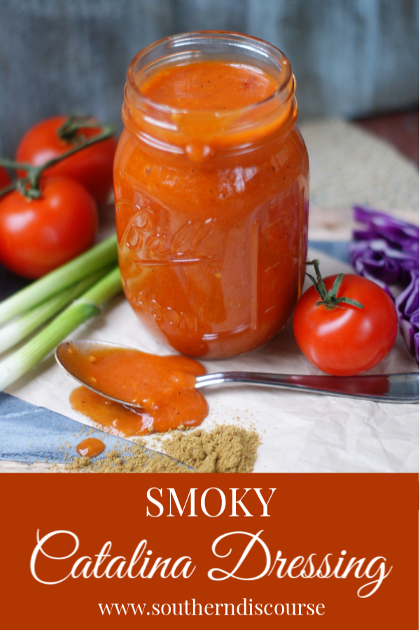 Make your own sweet and tangy Catalina Dressing with a touch of smoky savoriness for your salads.  An easy recipe that's perfect for taco salads and so much more!  #saladdressing #Catalina #tacosalad #oliveoil #southerndiscourse