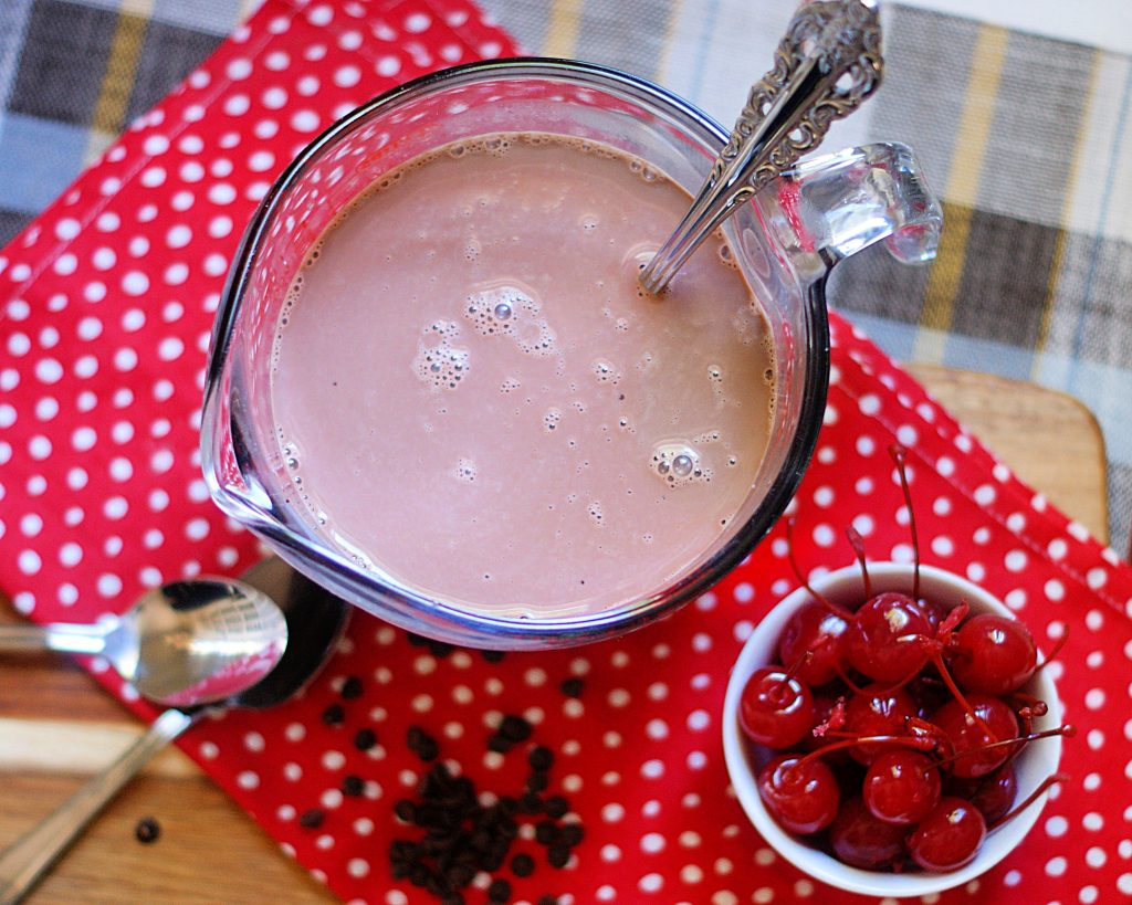 Mixing up the Cherry Mocha coffee creamer.