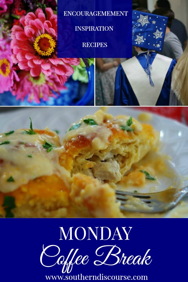 Monday Coffee Break at Southern Discourse is how we start our week together!  Full of Biblical encouragement, hospitality ideas and recipes, Monday Coffee Break is a valuable resource for homemaking.  This week's Coffee break offers encouragement about the trap of overparenting, 3 secrets to flower arranging and a recipe for stuffed chicken crescent rolls! #southerndiscourse #flowers #flowerarranging #crescentrolls #chicken #creamcheese #parenting #overparenting #faith
