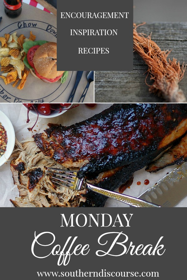 Monday Coffee Break; a weekly roundup with Biblical encouragement, hospitality inspiration and delicious recipes. This week features a Cherry Cola BBQ Pulled Pork recipe for the crockpot, encouragement for not getting to the end of your rope (that's not where God wants you!), and a how-to for creating fun market-place place mats. #coffeebreak #southerndiscourse #pulledpork