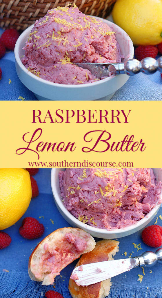 This light, delicious butter lets all the fruit flavors shine through.  Not too sweet, not to tart, but full of flavor, this Raspberry Lemon Butter is perfect for rolls, biscuits, pancakes, English muffins and more!  Great for brunch and holidays. #southerndiscourse #compoundbutter #fruitbutter #lemon #raspberry #Easter #brunch