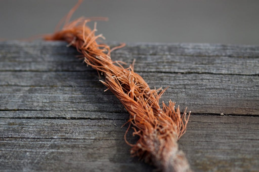 A frayed rope.
