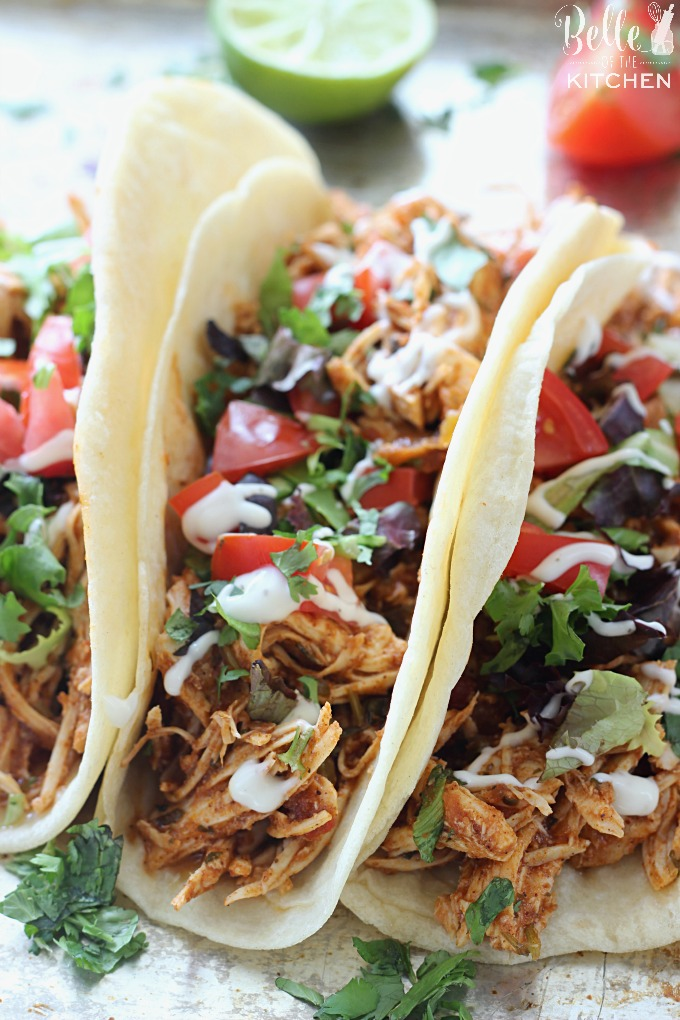 3 shredded chicken tacos