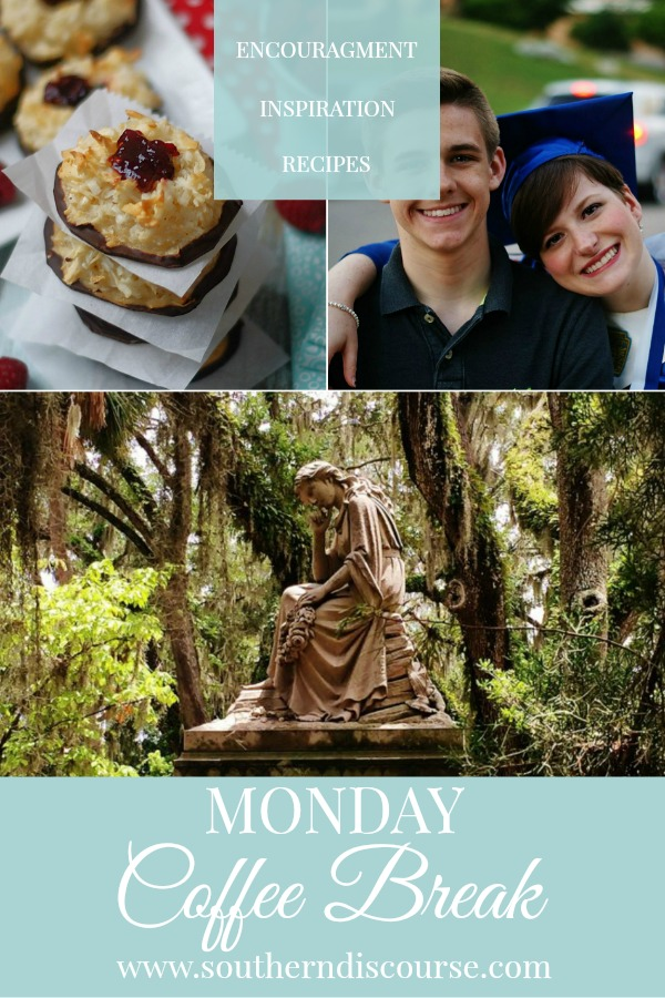 Monday Coffee Break at Southern Discourse is filled with Encouragement, Inspiration & yummy Recipes!  This week, we've got easy thumbprint coconut macaroons, the top 5 things to do & see in Savannah & an open letter about the wisdom of southern sayings!