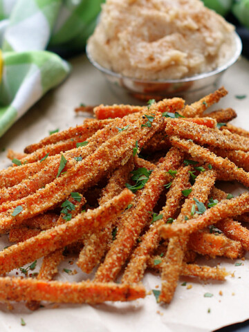 A serving of Carrot Fries with cinnamon honey butter.