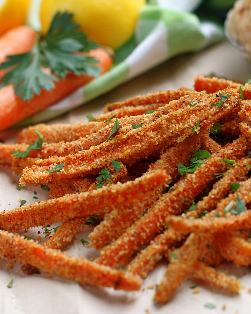 A pile of Garlic Parmesan Carrot Fries