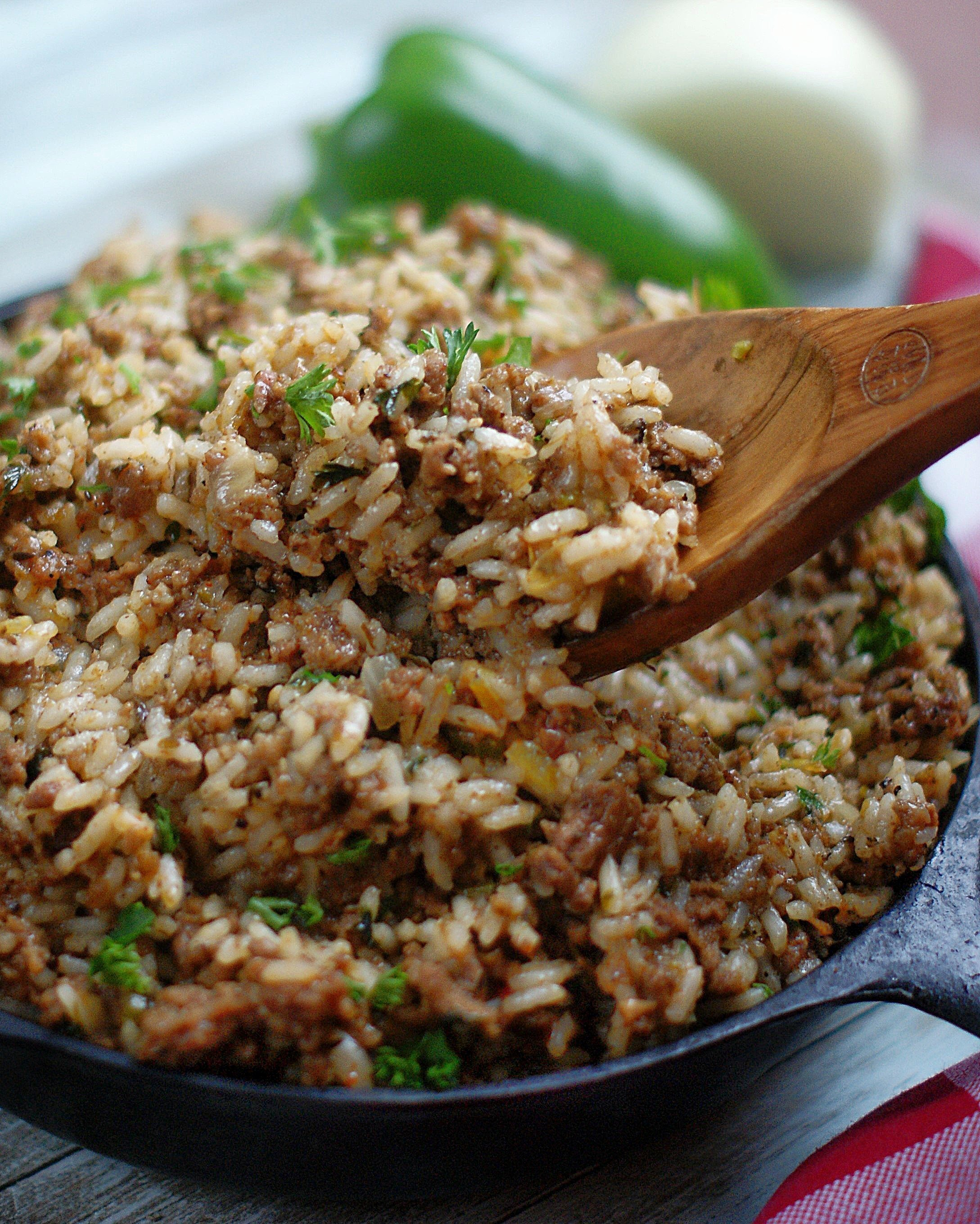Dirty Rice in a skillet