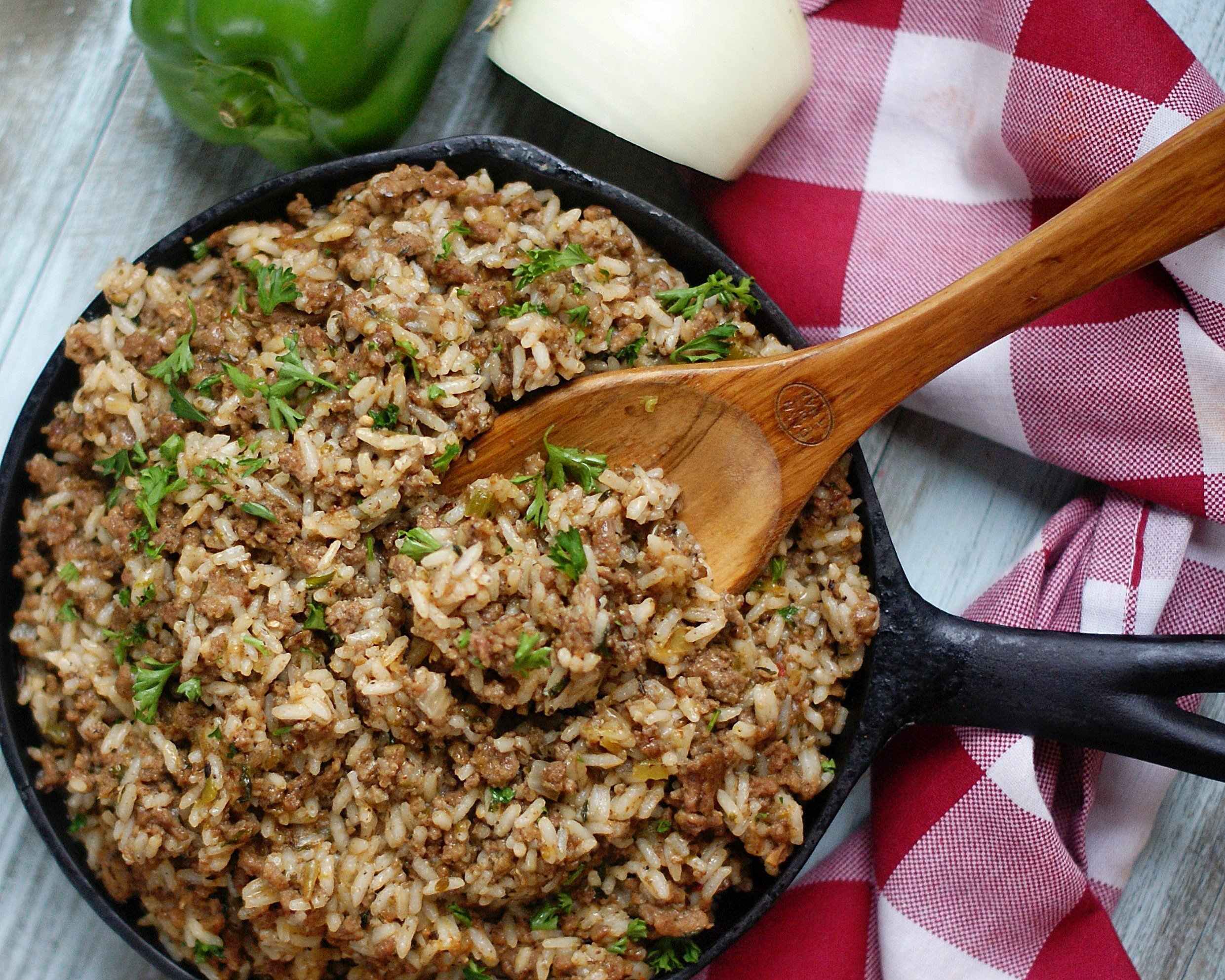 A finished skillet of Dirty Rice.