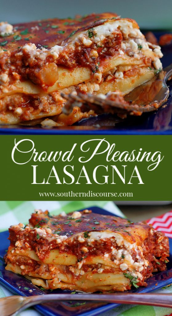 A homemade, crowd pleasing lasagna has layers of rich, seasoned meat sauce, melted ricotta, mozzarella and Parmesan cheeses and delicious pasta.  Lasagna is one of those classic comfort foods that is perfect for family meals, holidays and special occasions.  Easy, step-by-step instructions. #southerndiscourse #pasta #traditional #comfortfood #sausage #beef
