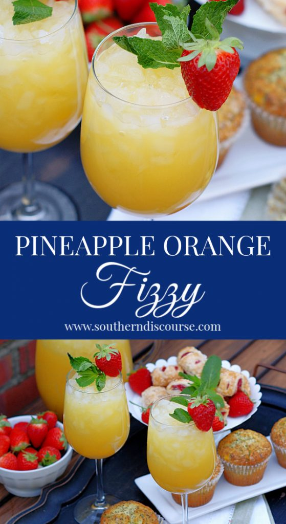 Your guests are going to love these little sips of sunshine just as much as you're going to love serving them!  Bright & refreshing, Pineapple Orange Fizzies are perfect for Mother's Day, Showers, Graduation, and Easter.  #southerndiscourse #brunch #spring #pineappledrink #orangejuice
