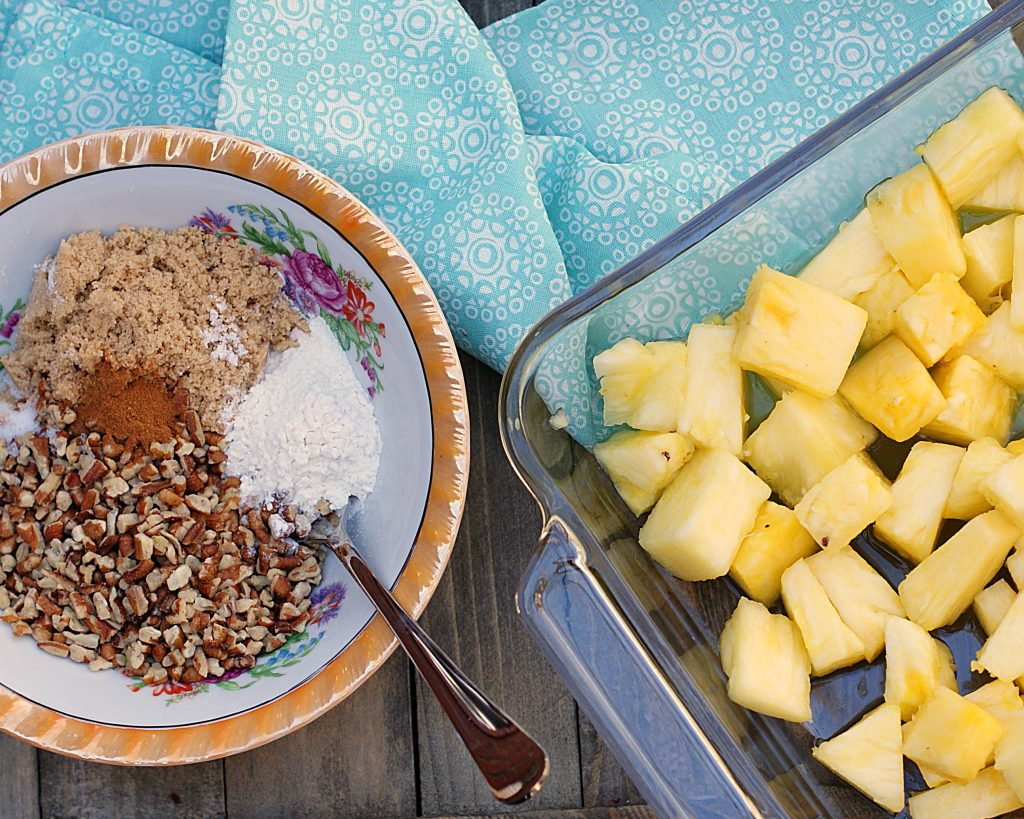 The ingredients for roasted pineapples with brown sugar and pecans.