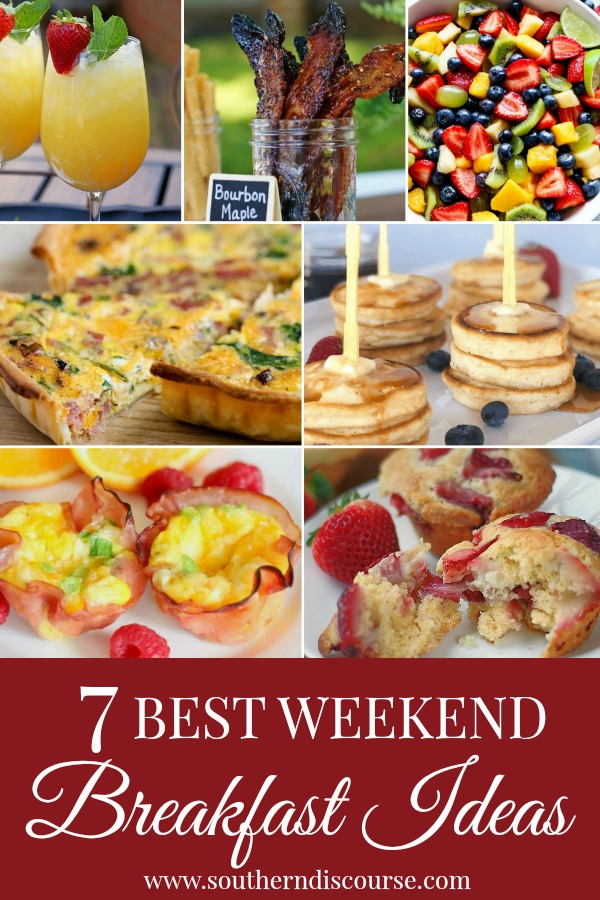 7 of the best weekend breakfast ideas- from muffins, quiche, little pancakes, fizzy drinks to fruit salad.  This list has everything for a fun weekend breakfast!  #southerndiscourse #breakfast #muffins #bacon #pineapple #strawberry #brunch #easter