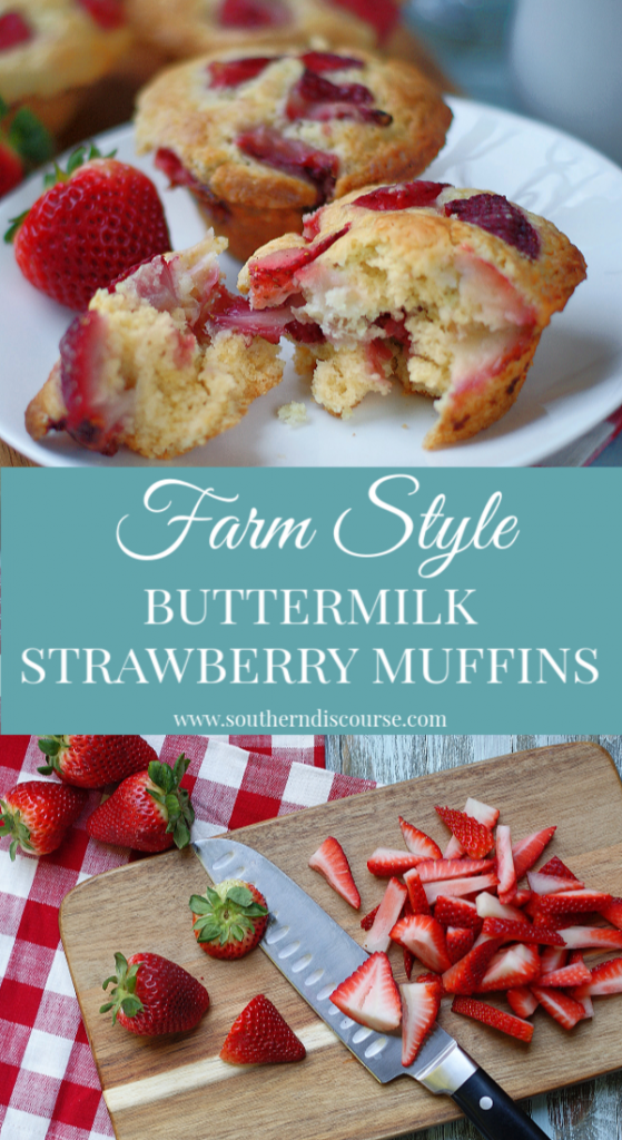 Easy, from scratch, fresh farmstyle buttermilk strawberry muffins are perfect for a leisurely weekend breakfast or that spring or Easter brunch you've been planning!  This recipe bakes up large, moist homemade muffins full of fresh strawberries!  #southerndiscourse #breakfast #muffins #brunch #strawberries #Easter #spring