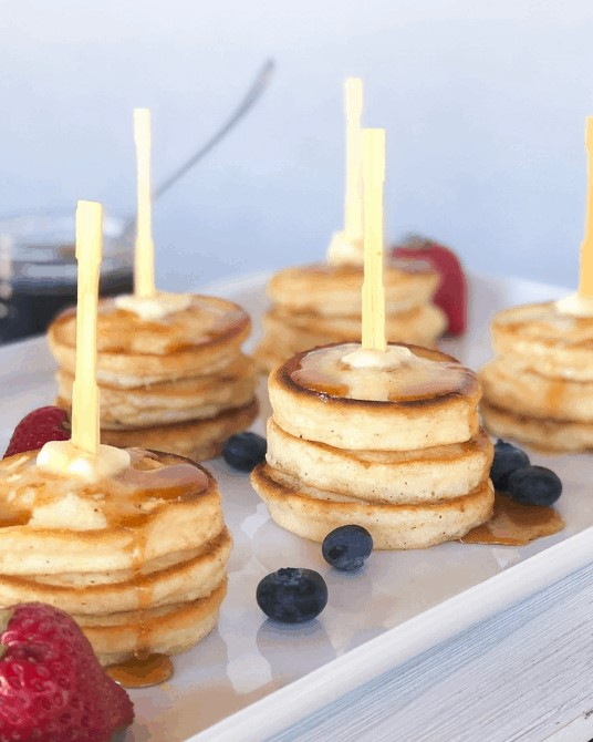 Small Pancakes on a skewer.
