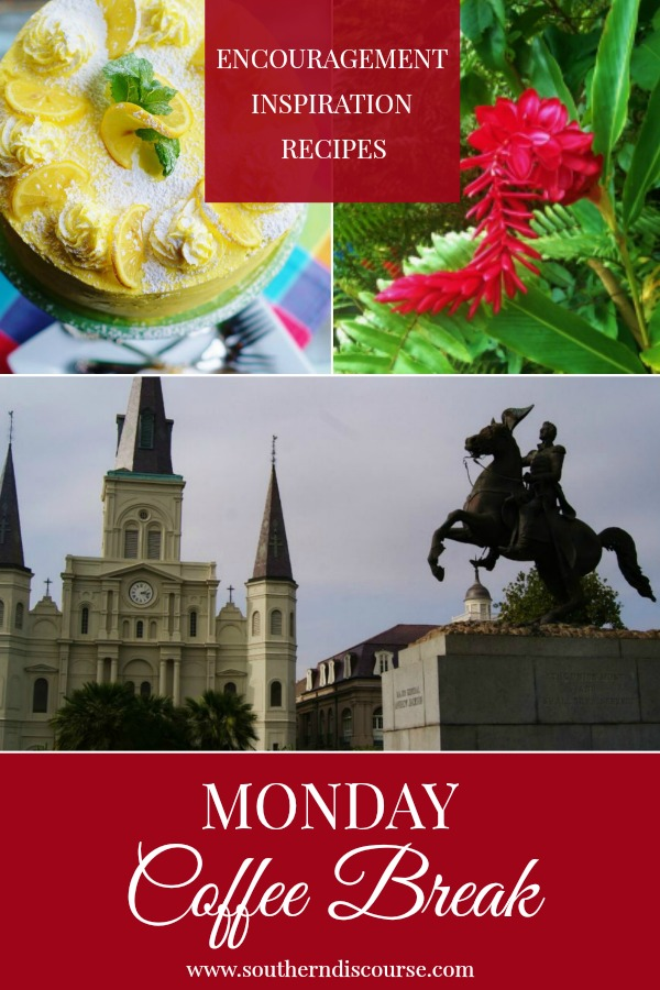 Monday Coffee Break is a weekly series filled with Biblical encouragement, hospitality inspiration & delicious recipes.  This week features a triple layer lemon cake with lemon curd butter cream, a little about Mardi Gras and a little reminder that God will meet you right where you are!  #southerndiscourse #coffeebreak
