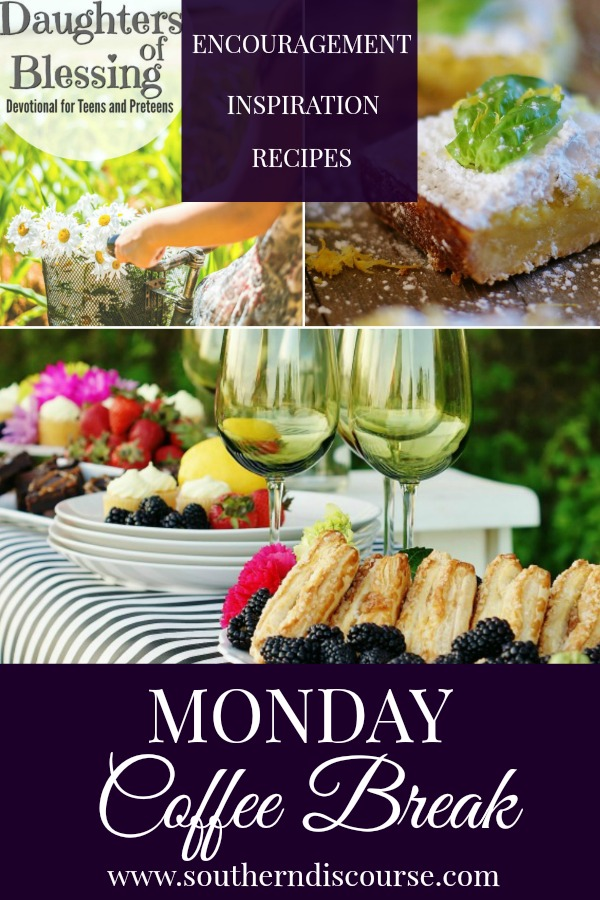 Monday Coffee Break is filled with Biblical Encouragement, Hospitality Inspiration, and Delicious Recipes!  This week's Coffee Break features a new twist on classic lemon squares, a easy dessert bar for hosting spring get togethers, and encouragement about the words we speak!  #southerndiscourse #lemonsquares #dessertbar #preteengirls #empowerment #howtospeakwisely
