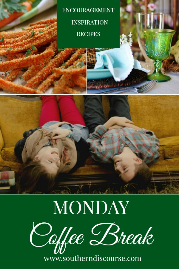 Monday Coffee Break at Southern Discourse is filled with Biblical Encouragement for everyday living, Inspiration for hospitality & delicious recipes.  This week, enjoy a woodland Easter table, Garlic Parmesan Carrot Fries & a encouragement to out our children in God's hands instead of our own. #southerndiscourse #Easter #spring #parenting #coffeebreak