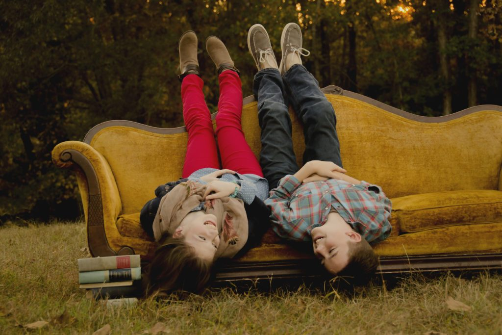 Two kids on a couch. Encouragement for letting go.